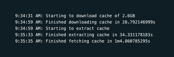 Screenshot of the Netlify deploy log where downloading and extracting the cache happens