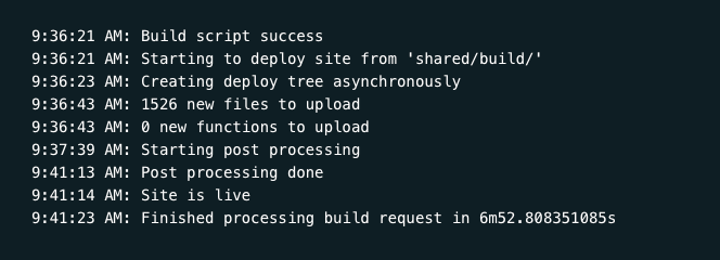 Screenshot of the Netlify deploy log at the very end where the deploy happens