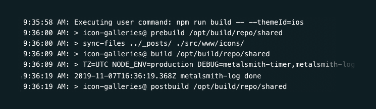 Screenshot of the Netlify deploy log where my custom build command is run