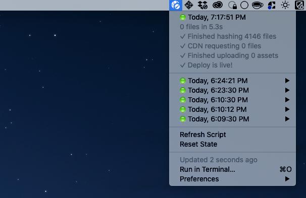 Screenshot of Netlify sync menubar app dropdown with a checkmark