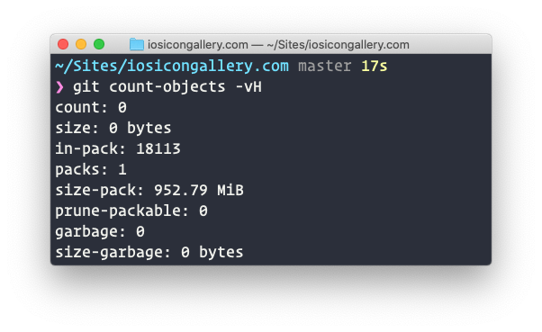 Screenshot of the result of running `git count-objects -vH` in the terminal against my local copy of the repository