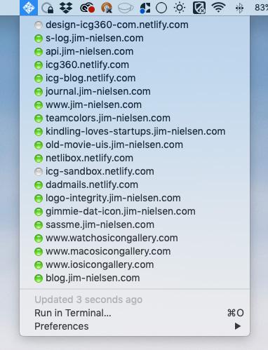 Screenshot of Netlify menu bar app using the example script