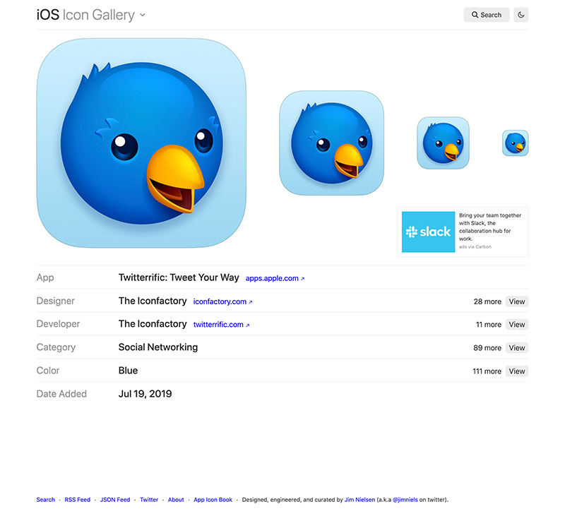 Screenshot of new icon view page for iosicongallery