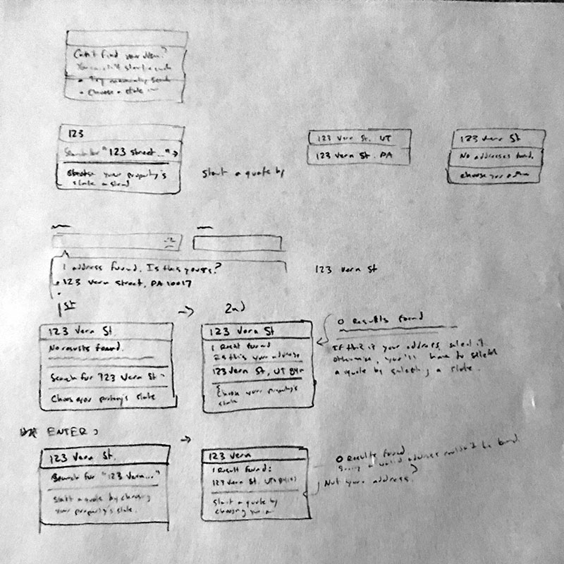 Photo of sketch for UI ideas on solving address field edge case bug
