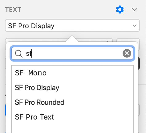Selection of variety of SF fonts in Sketch
