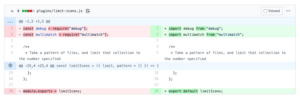 Screenshot of git diff when changing import and export statements from CJS to ESM