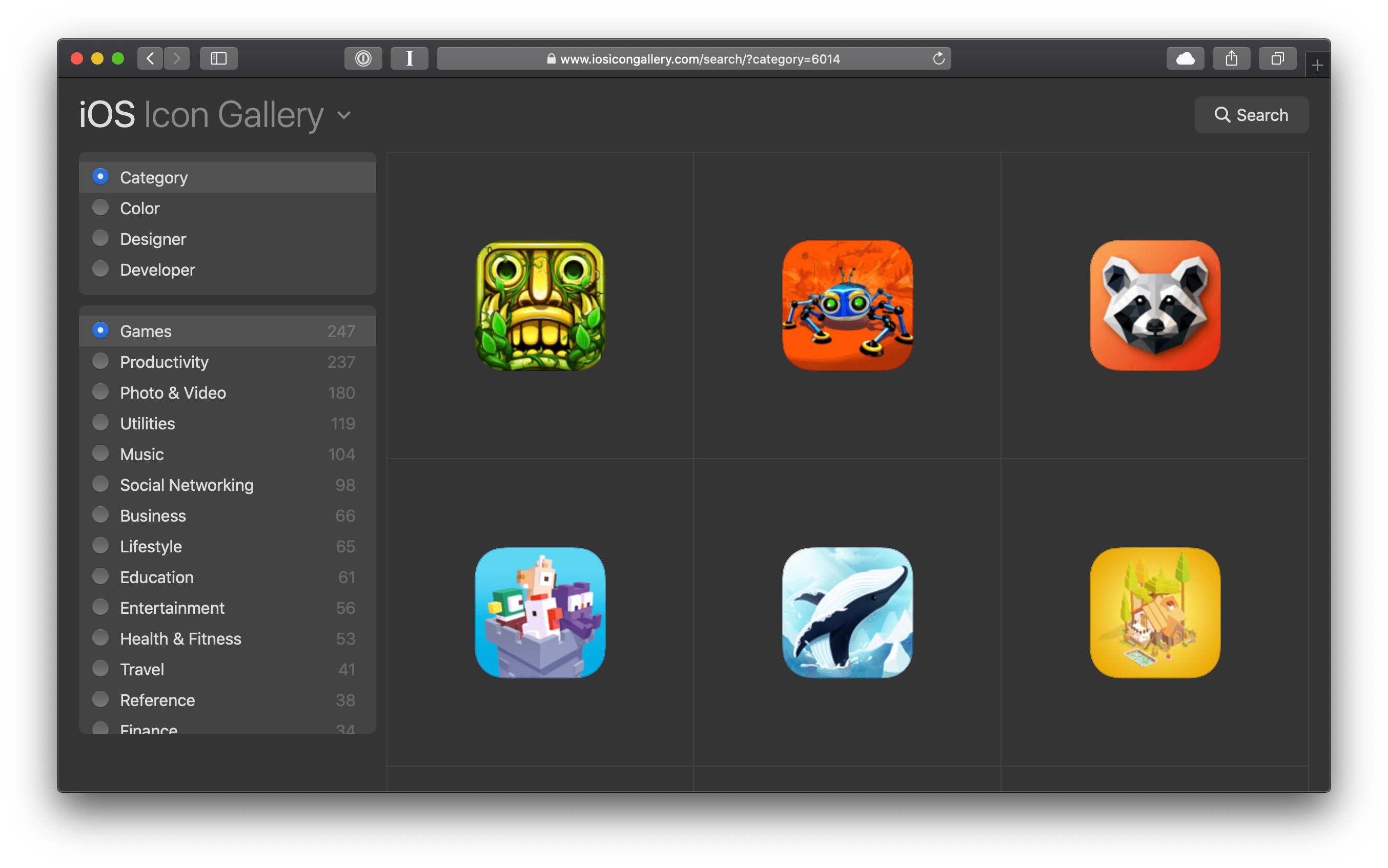 Screenshot of my iOS Icon Gallery where color-scheme is used in the CSS and the system radio buttons adapt to appearing dark.