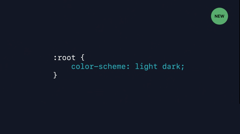 Screenshot from a WWDC video showing the `color-scheme` CSS property on the `:root` element