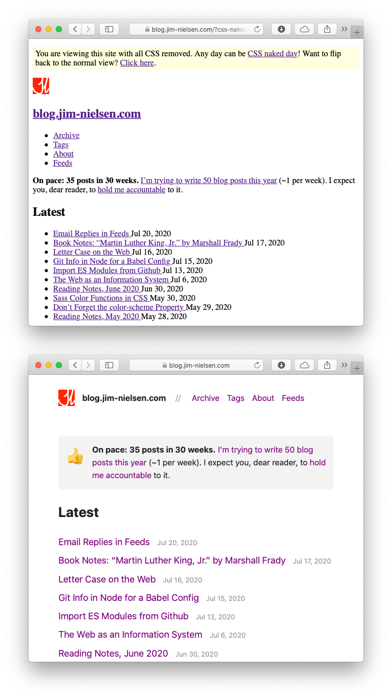Screenshot of blog.jim-nielsen.com with and without CSS naked applied.