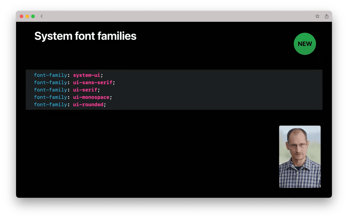 Screenshot from Apple's WWDC20 video for web developers showing the new generic family names available for referencing system fonts.