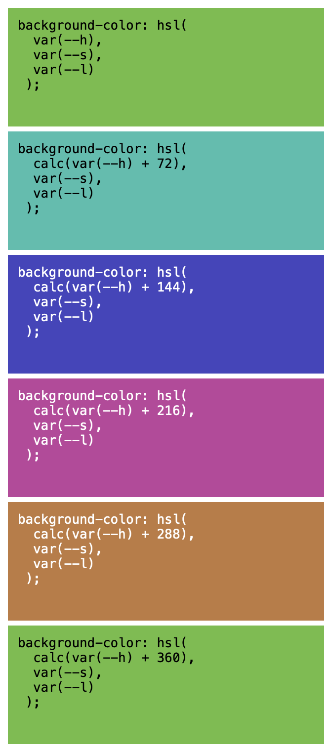Screenshot illustrating dynamic color manipulation with CSS variables in adjusting a color's hue.
