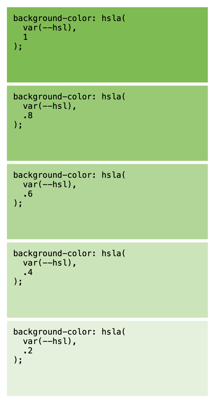 Screenshot illustrating dynamic color manipulation with CSS variables in an hsla() color function.