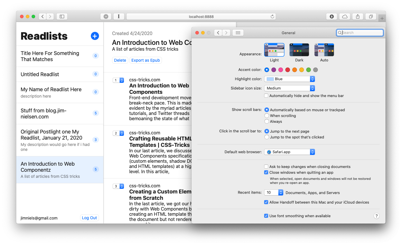 Screenshot of a website alongside the system preferences in macOS where you can configure the accent color (with the accent set to blue).