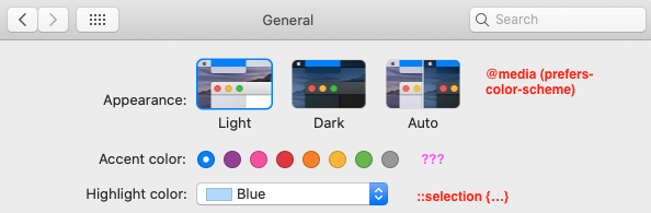 Screenshot of macOS system preferences and how they map to CSS rules