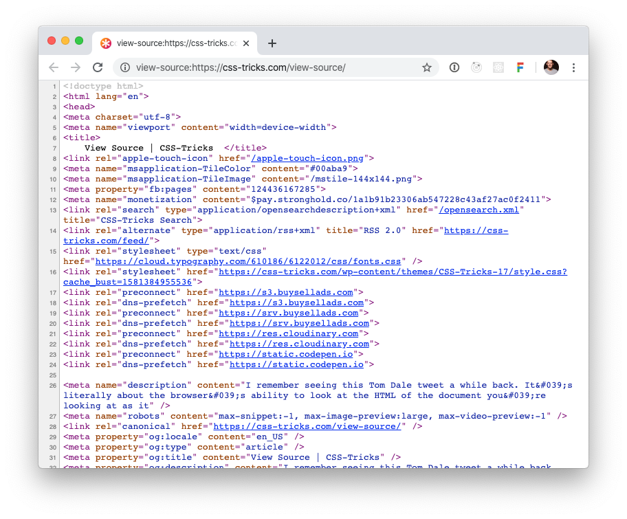 "Screenshot of Chrome's ""View Source"" tab for a particular web page on css-tricks.com"