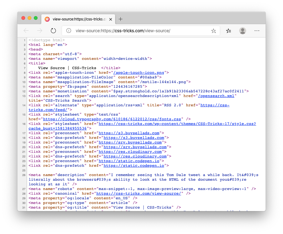 "Screenshot of Edge's ""View Source"" tab for a particular web page on css-tricks.com"