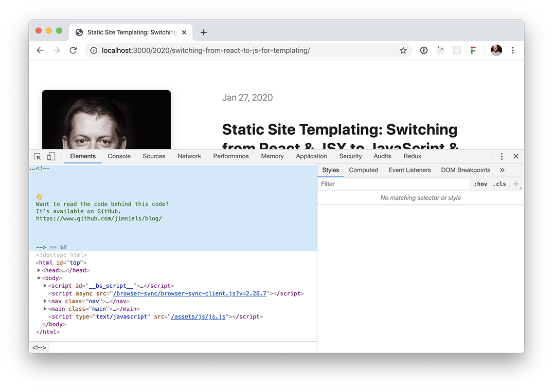 Screenshot of Chrome with the developer tools open and displaying the source HTML with a comment pointing to the source code on Github that generates that HTML.