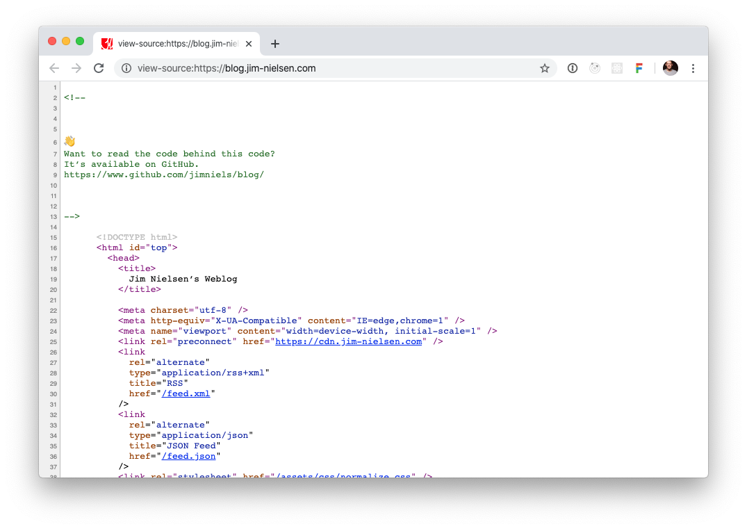 "Screenshot of ""View Source"" tab in Chrome displaying the source HTML with a comment pointing to the source code on Github that generates that HTML."