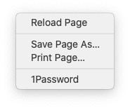 Screenshot of Safari's contextual menu when you right-click on a webpage with the developer tools turned on.
