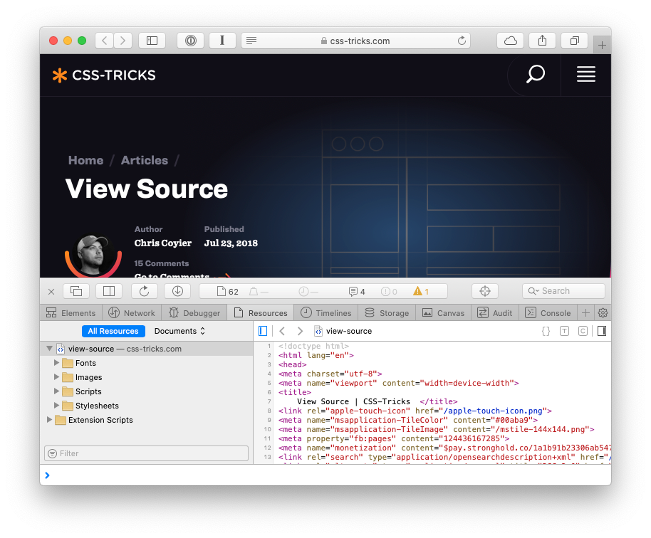 "Screenshot of Safari's ""Show Page Source"" view for a particular web page on css-tricks.com"