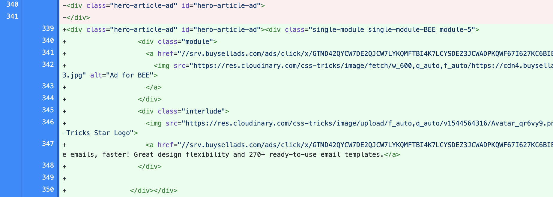 Screenshot of file diff showing ads being injected in initial HTML placeholder.