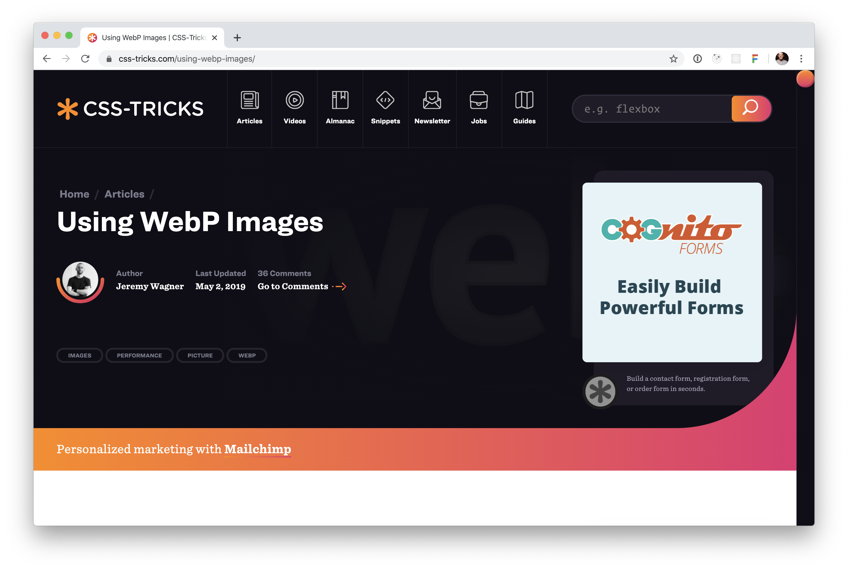 Screenshot of CSS Tricks article page on using webp images.