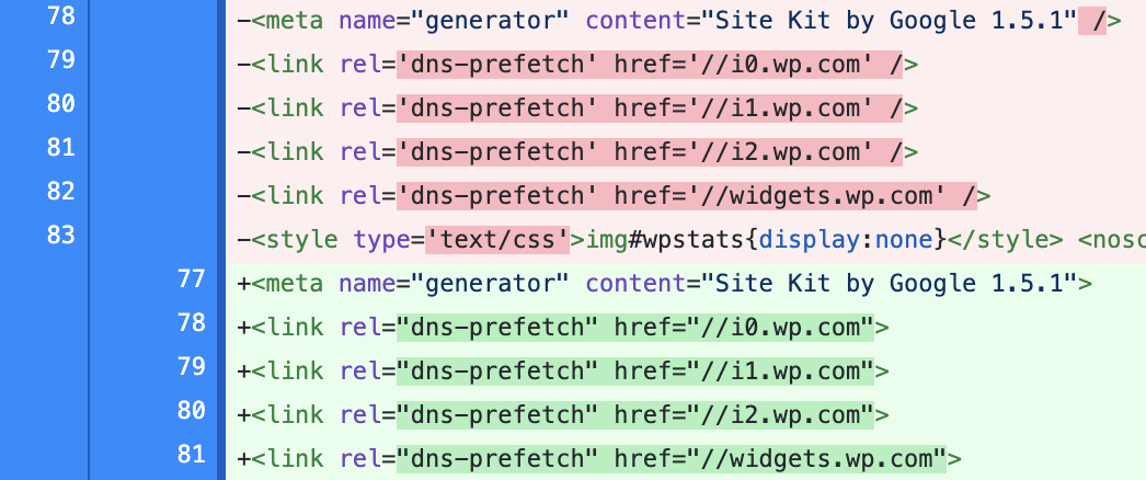 Screenshot of file diff showing how meta and link tags have their self-closing slash removed.