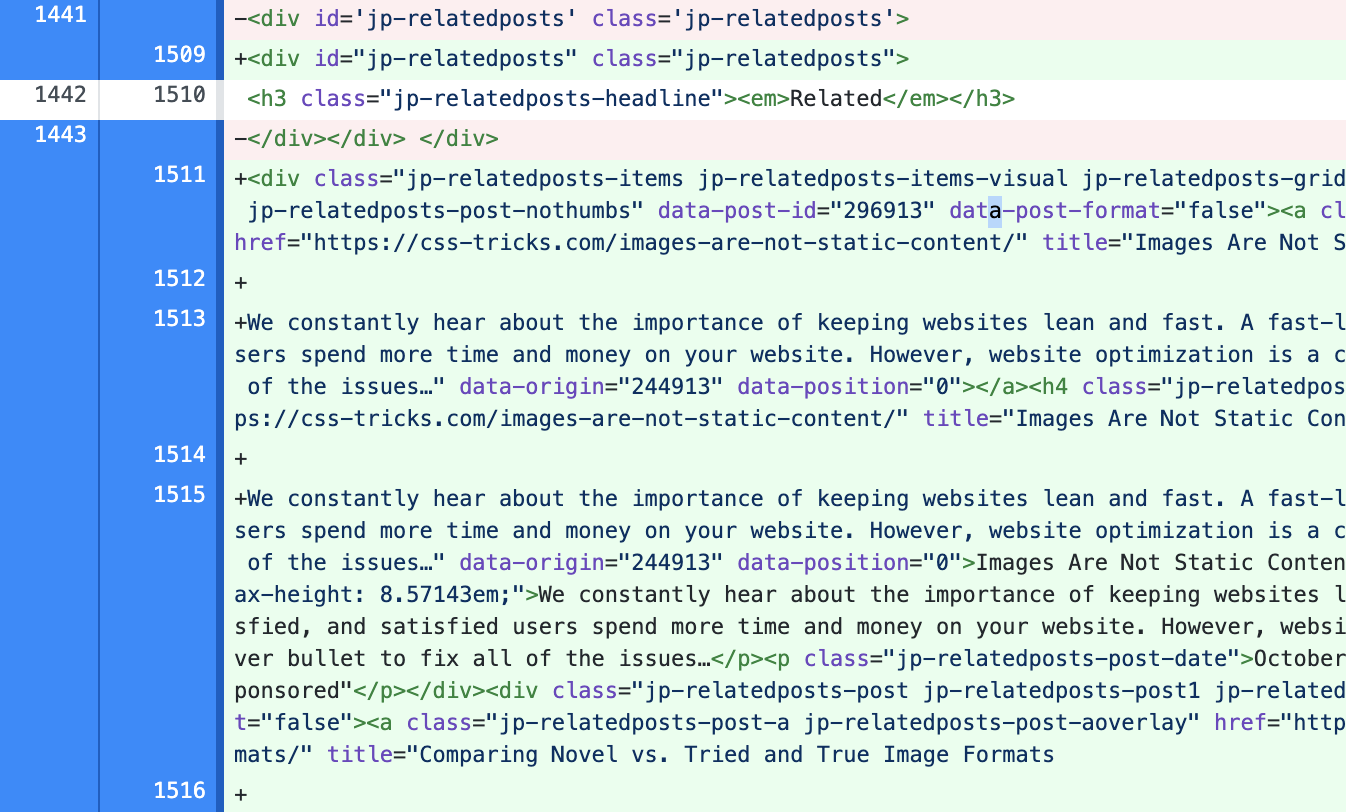 Screenshot of file diff showing related post content injected into a placeholder.