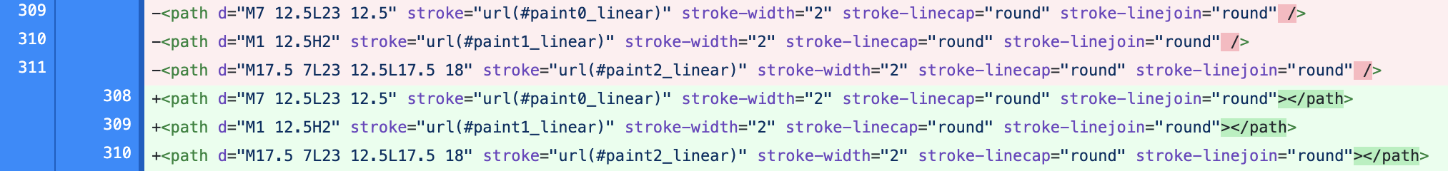 Screenshot of file diff showing how SVG tags were converted to explicitly closed tag instead of an self closed tag.