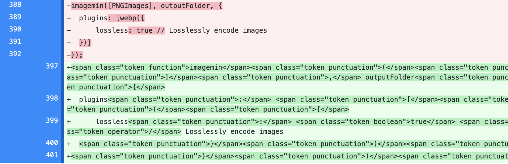Screenshot of file diff showing client-side HTML additions for syntax highlighting.