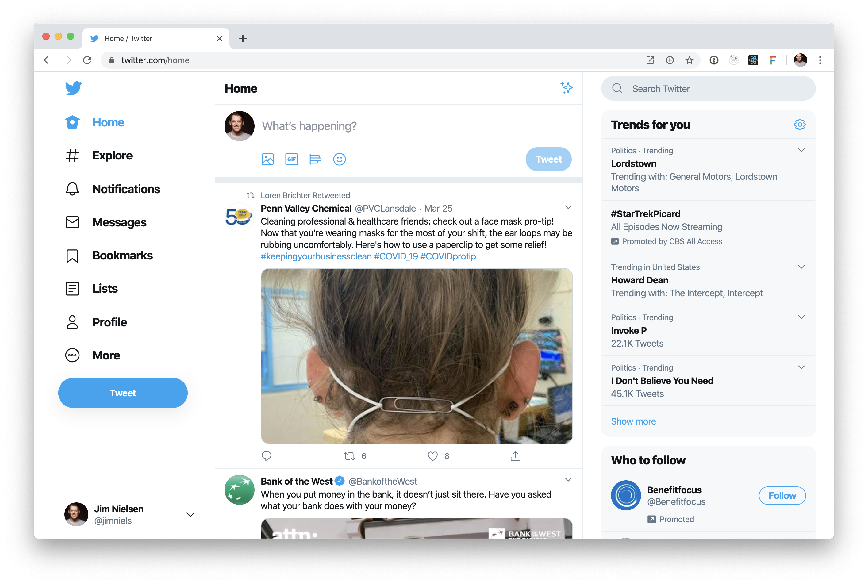 Screenshot of logged in twitter home page.