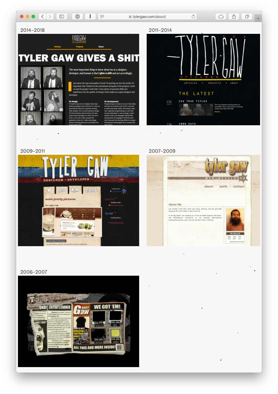 Screenshot of website version history on tylergaw.com