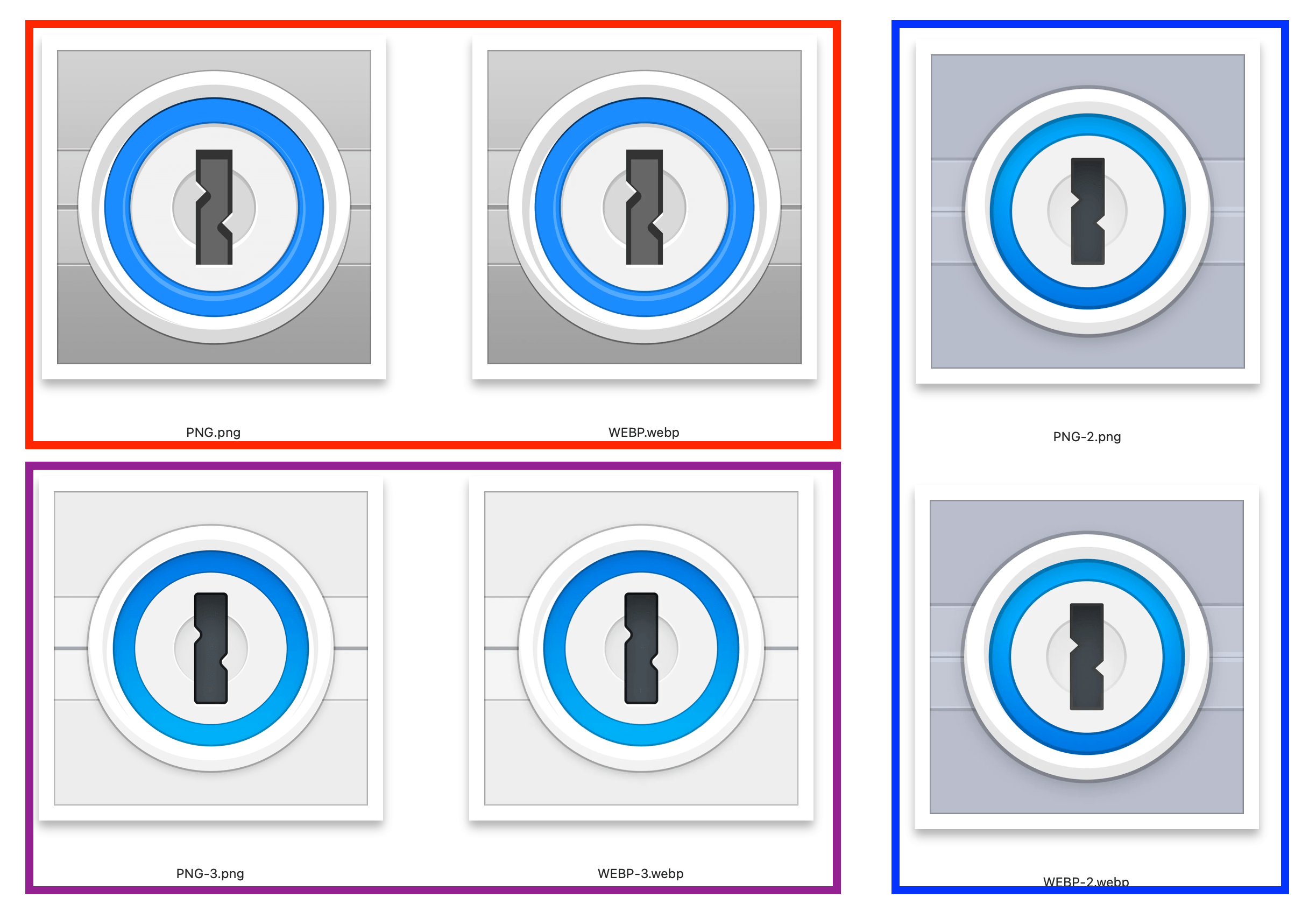 """3 versions of the 1Password icon, each with a PNG and WEBP version, illustrating how well the compression worked for icons design with a """"flat� aesthetic."""