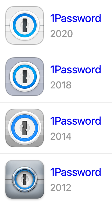 iOS icons for 1Password from 2020, 2018, 2014, and 2012 which show how the icon's aesthetic has changed over time.