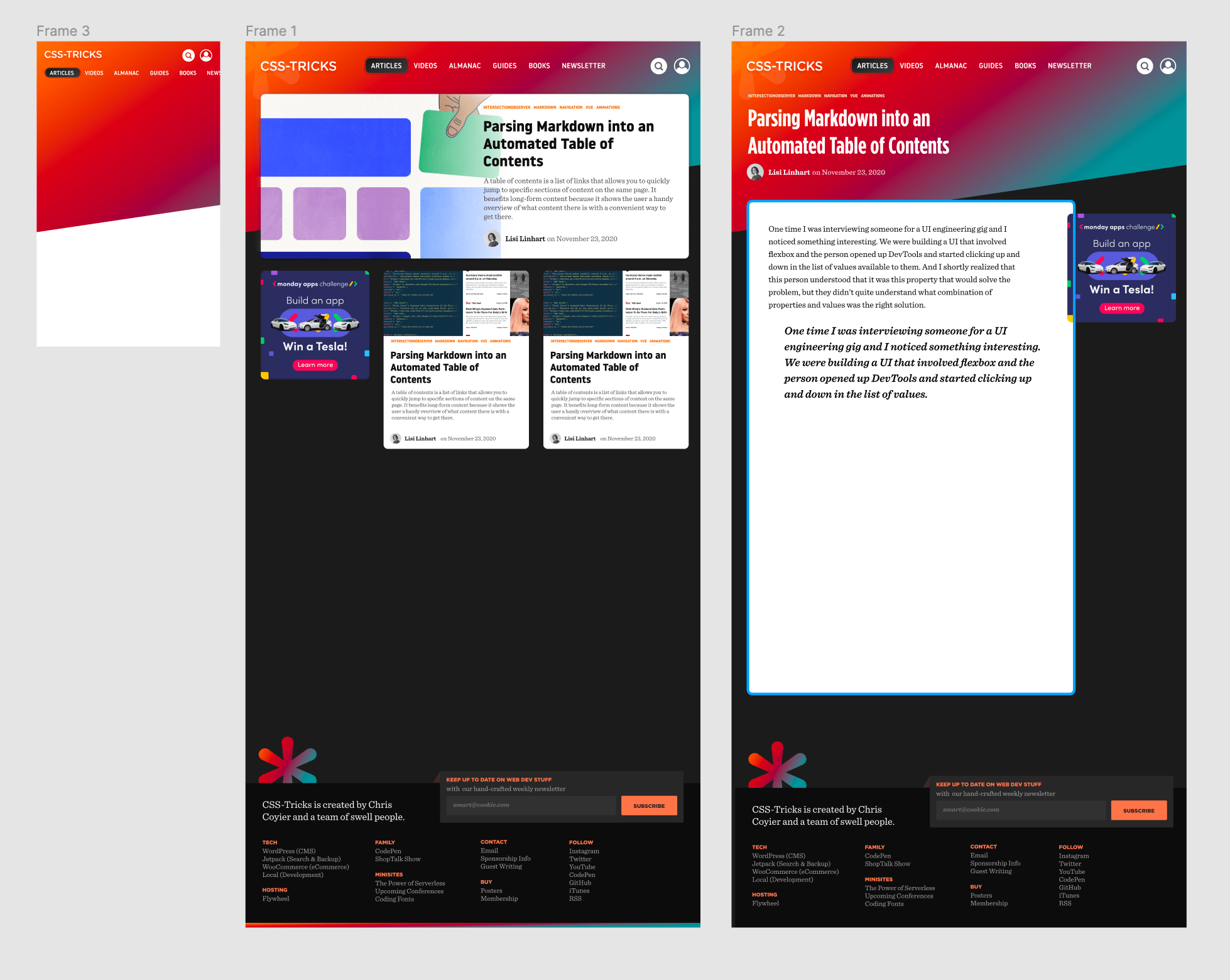 Screenshot from the redesign of CSS-Tricks showing incomplete high-fidelity designs in Figma.