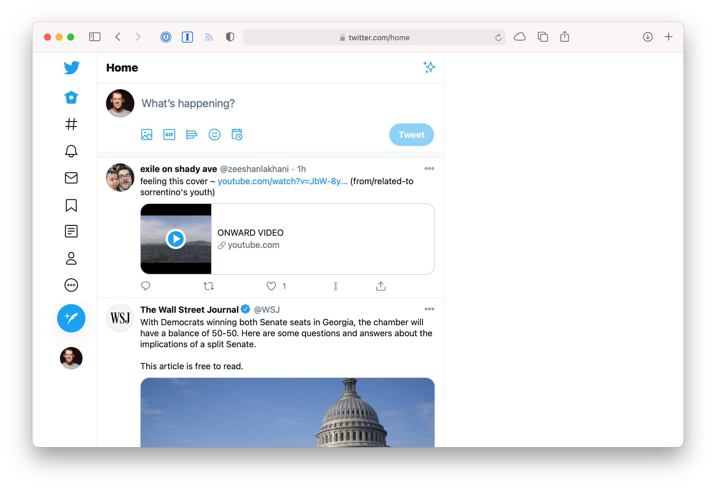 Screenshot of twitter.com in Safari with a custom style sheet applied that hides the sidebar and the DM widget in the bottom right.