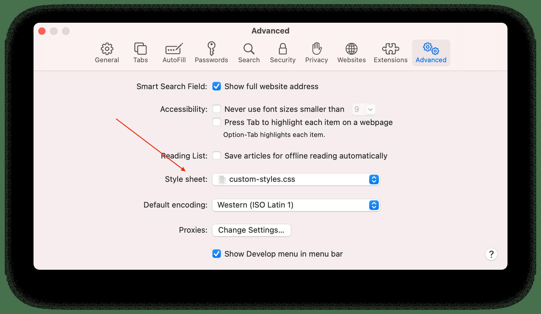 Screenshot of Safari's preferences pane where you can select a custom style sheet.