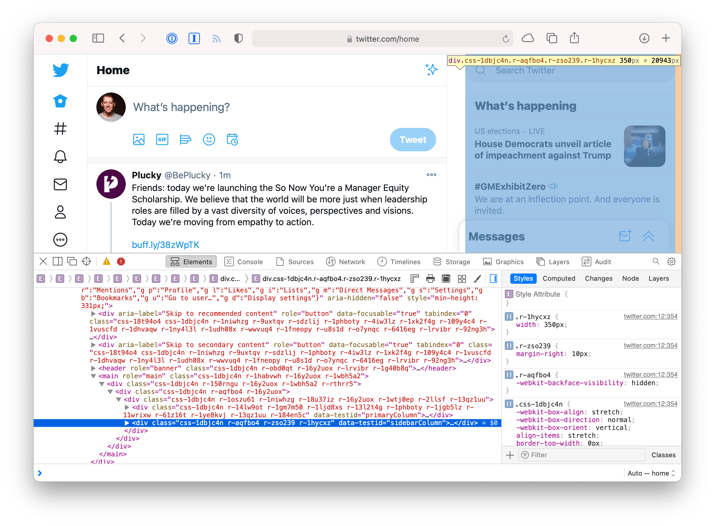 Screenshot of twitter.com in Safari with the developer tools open and targeting a parent DOM node of the right sidebar.