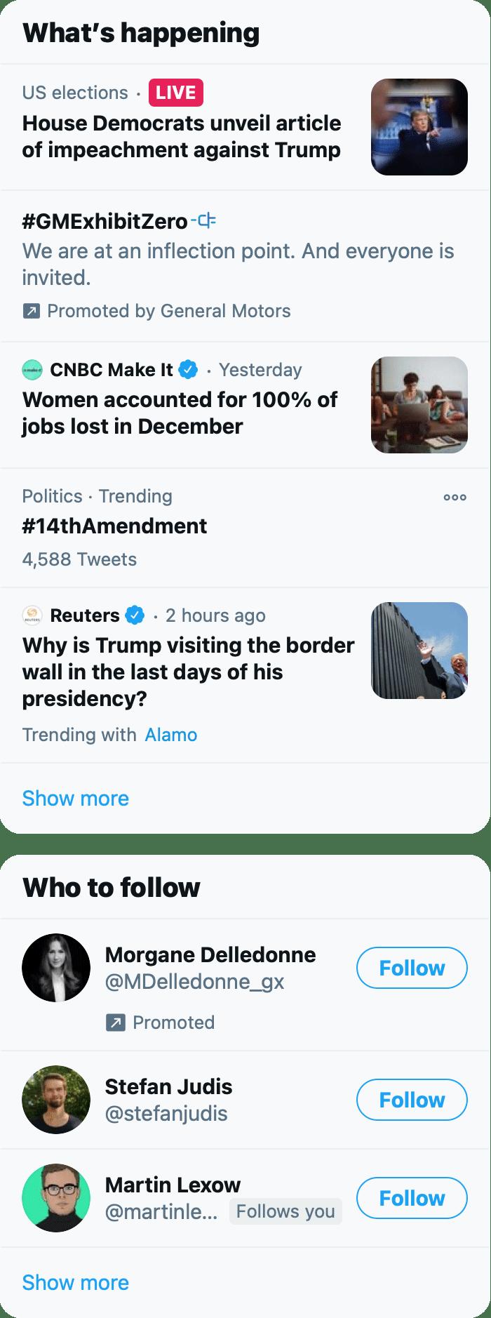 Screenshot of the right sidebar of twitter.com, circa Jan 2021.