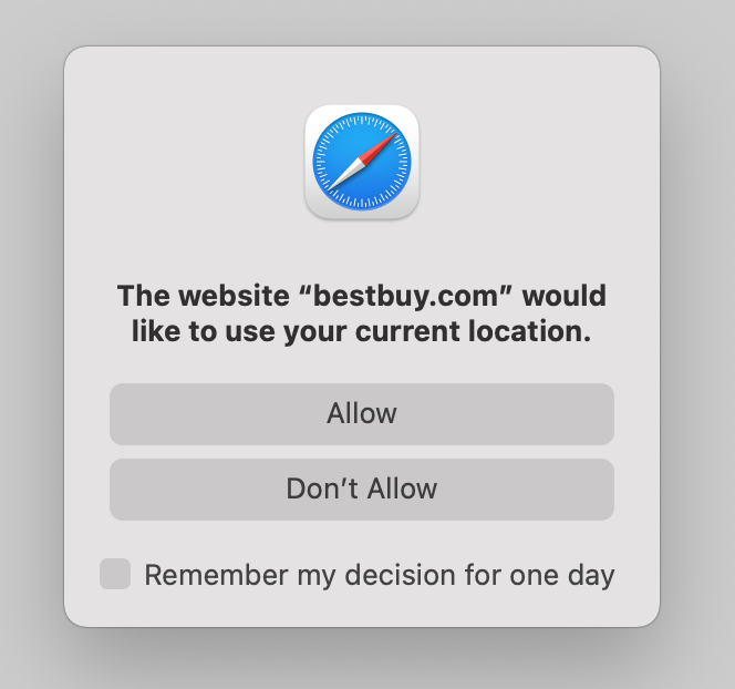 Safari on macOS prompt asking for permission to use your current location.