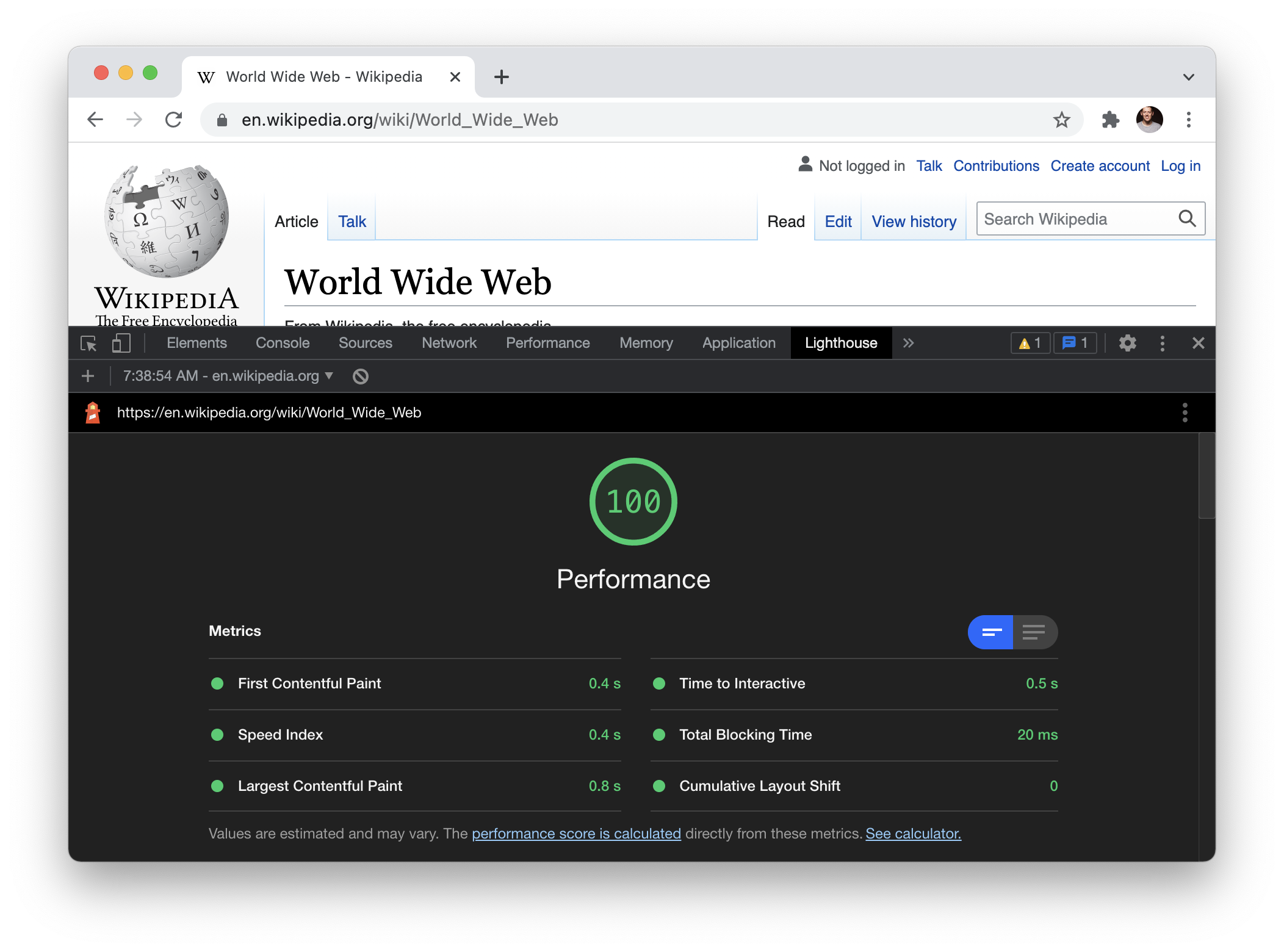 Screenshot of the World Wide Web entry on Wikipedia in Chrome with the Lighthouse dev tools open showing a performance score of 100.