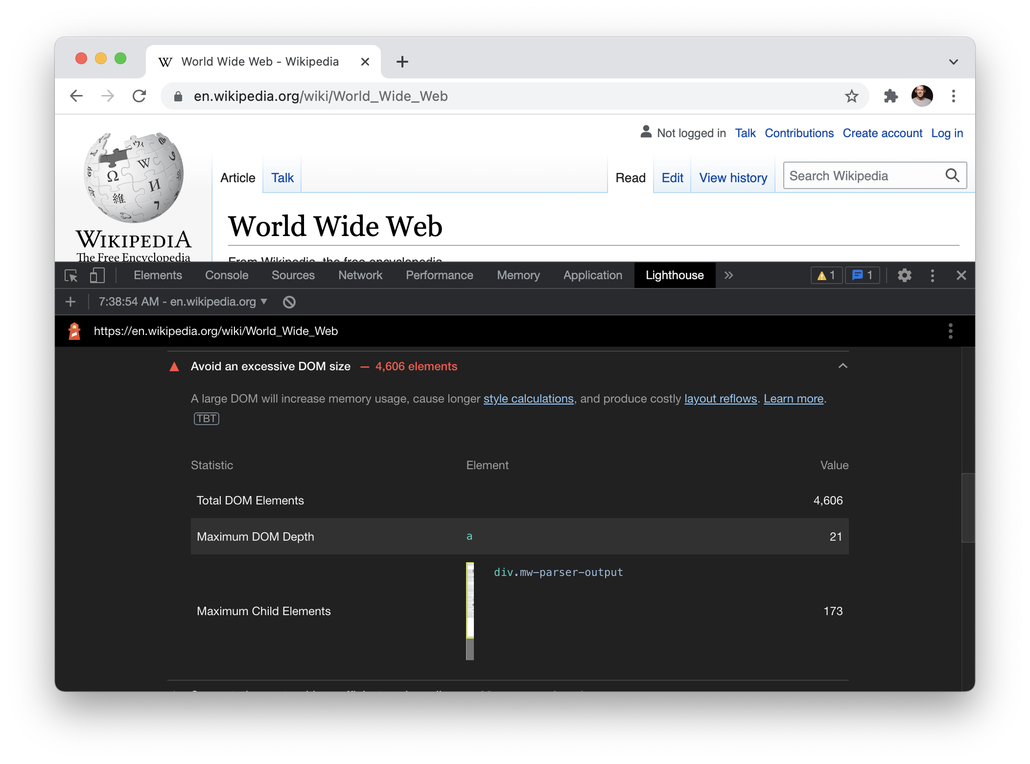 Screenshot of the World Wide Web entry on Wikipedia in Chrome with the Lighthouse dev tools open showing a warning about the size of the DOM.