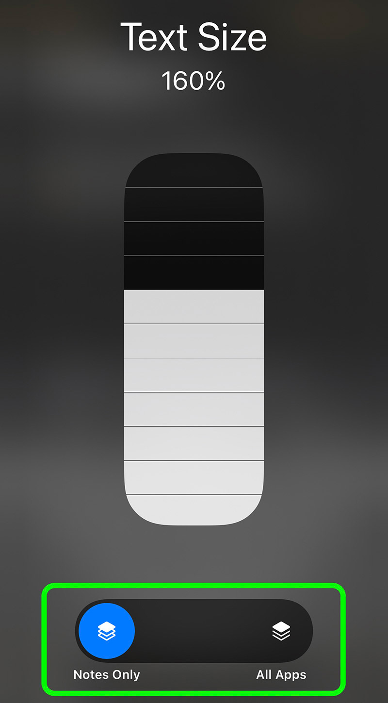 Screenshot of the text size preference in the control center of iOS 15, showing the option to control font size at the system or app level.