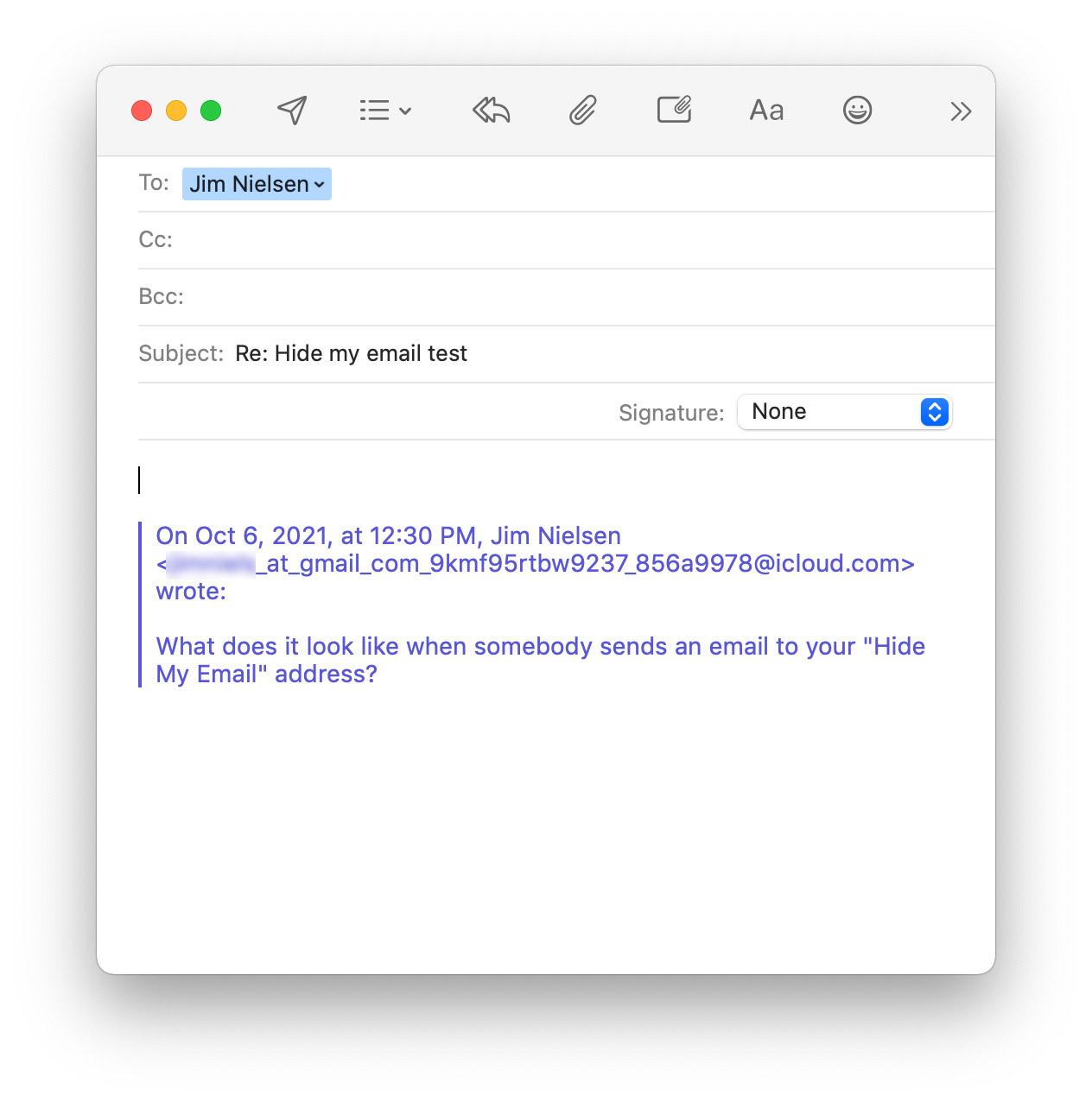 """Screenshot of the """"Reply� window UI in Apple Mail."""