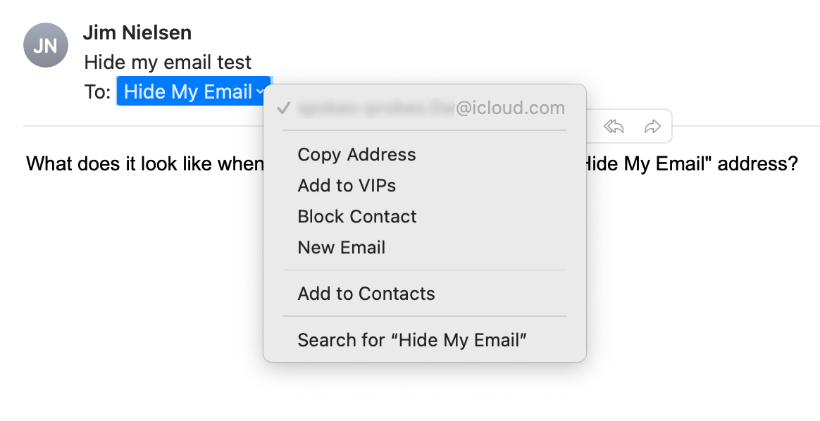 Screenshot of Apple Mail showing the email address context menu for the 'To' field.