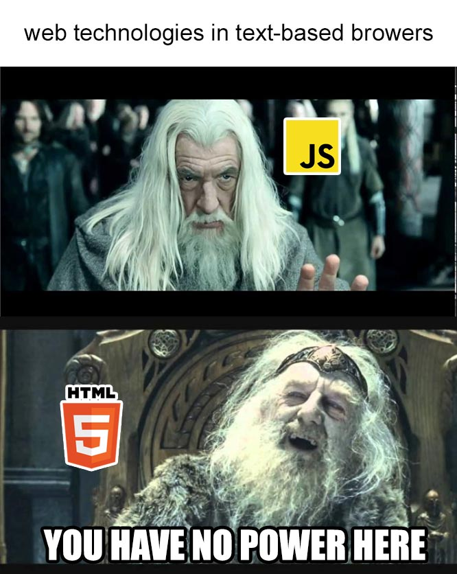 A picture of the 'you have no power here' meme where JS is the one that has no power of HTML.