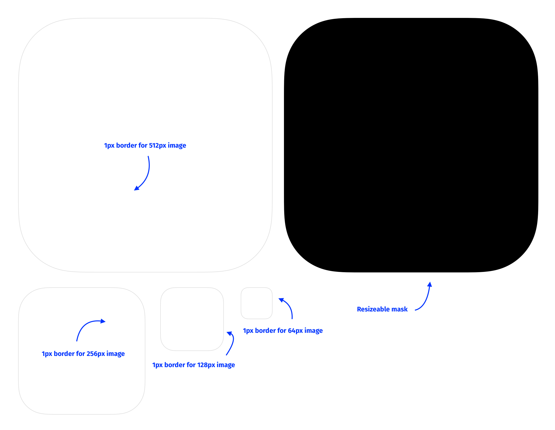 Screenshot of various SVG masks in the shape of iOS icons at multiple sizes.