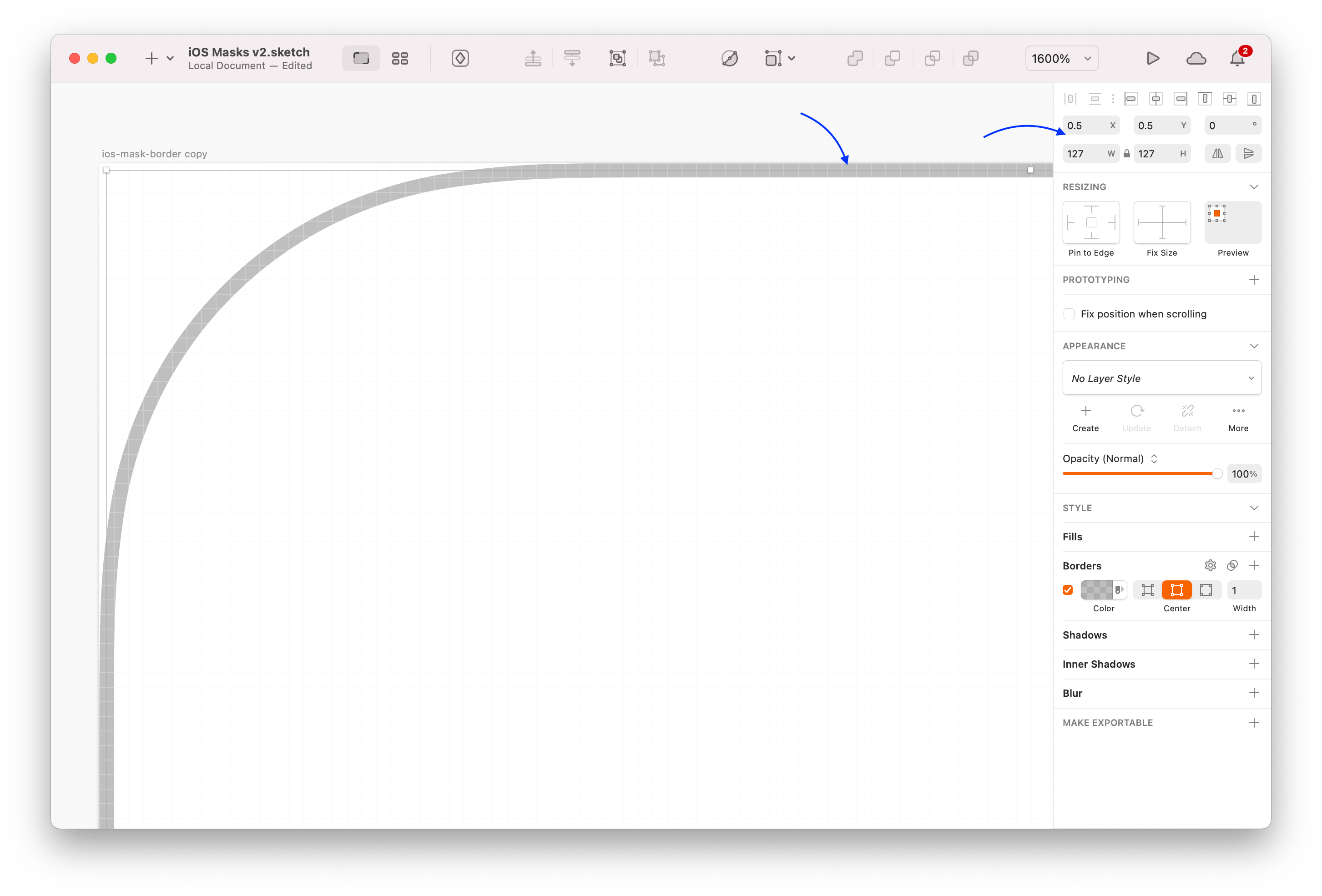 Screenshot of Sketch showing a vector stroke aligned on a half pixel edge.