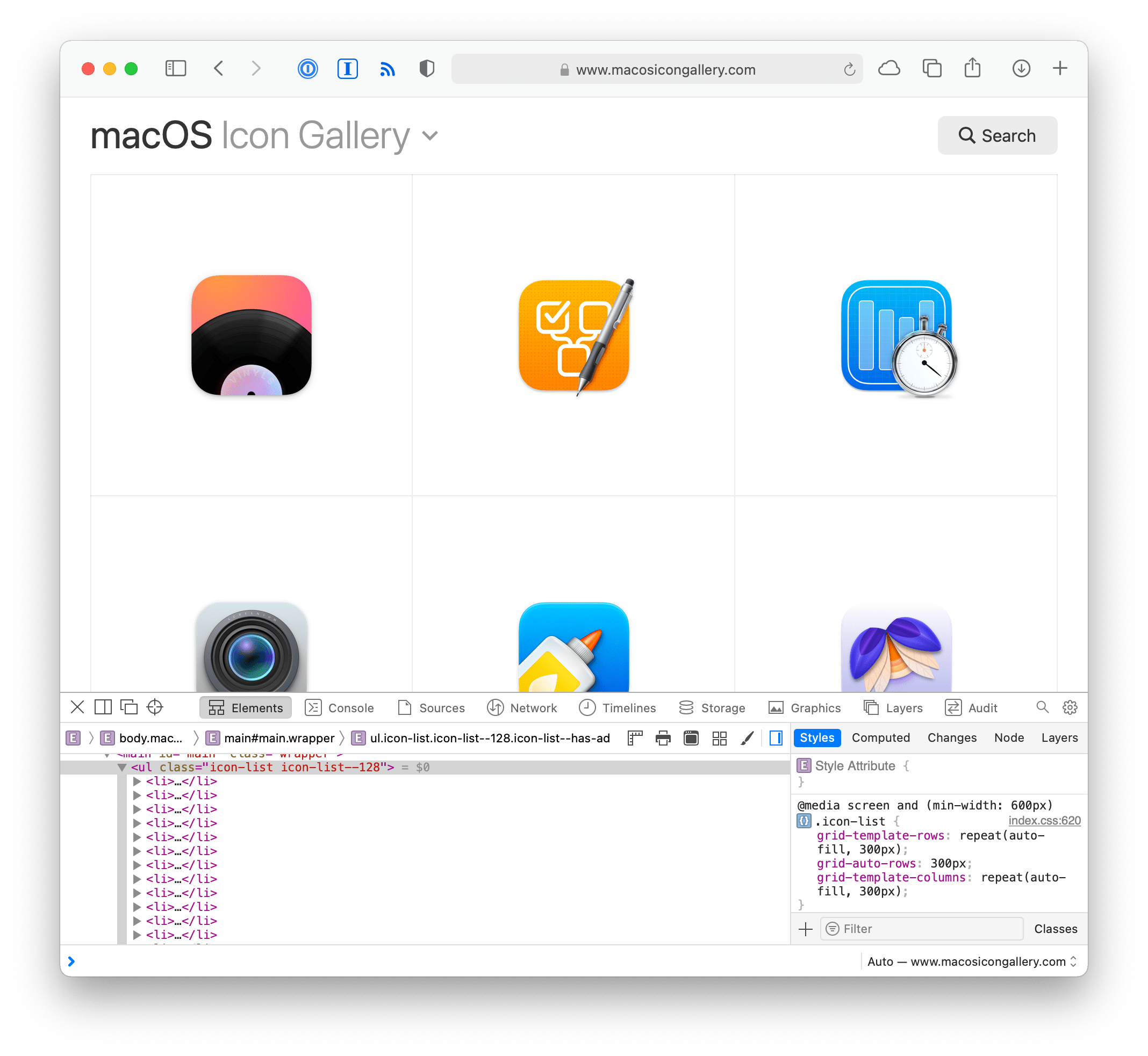 Screenshot of macOS Icon Gallery with the dev tools open showing HTML markup for the list of icons.