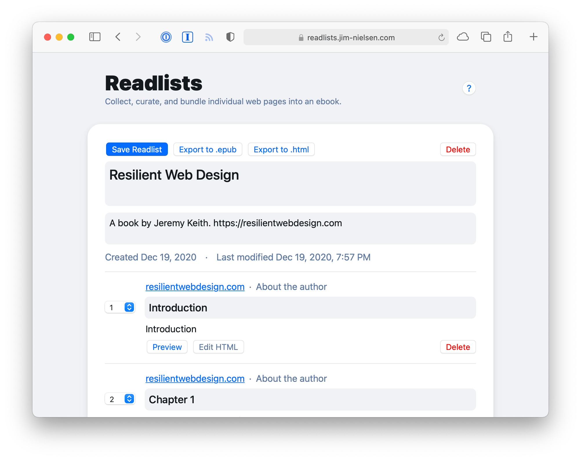 """Screenshot of readlists.jim-nielsen.com with the book """"Resilient Web Design� by Jeremy Keith"""